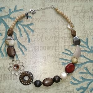 NY necklace with wood detail